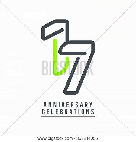 17 Years Anniversary Celebration Vector Template Design Illustration