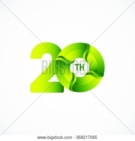 20 Th Anniversary Celebrations Green Gradient Vector Template Design Illustration