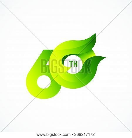 60 Th Anniversary Celebrations Green Gradient Vector Template Design Illustration