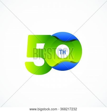 50 Th Anniversary Celebrations Green Blue Gradient Vector Template Design Illustration