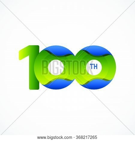 100 Th Anniversary Celebrations Green Blue Gradient Vector Template Design Illustration