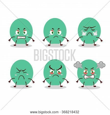 Green Baloon Cartoon Character With Various Angry Expressions