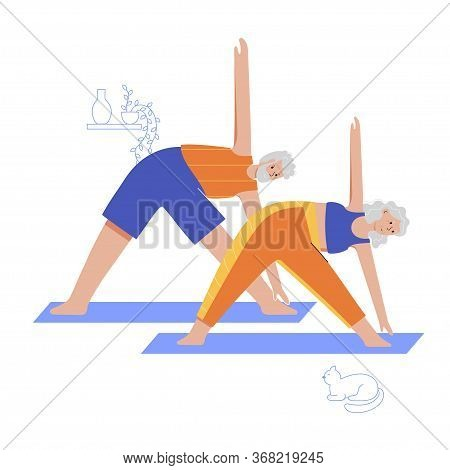 Happy Couple Of Seniors Performs Yoga Exercises At Home. Old Or Mature Male And Female Cartoon Chara