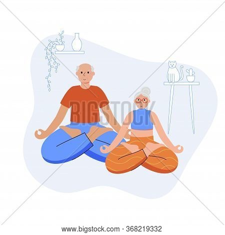 Happy Couple Of Seniors Performs Yoga Exercises At Home. Lotus Pose. Old Or Mature Male And Female C