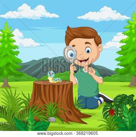 Vector Illustration Of Little Boy Looking At Caterpillar Using Magnifier In The Garden