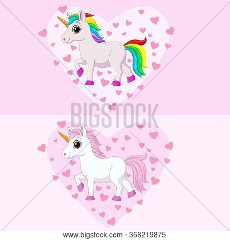 Vector Illustration Of Cute Pink And White Unicorns With Various Colors Manes And Tails