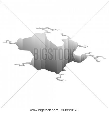Earthquake crack. Hole in ground with cracking and earth destruction cracks isolated cartoon. Damage breaks surface isolated on white