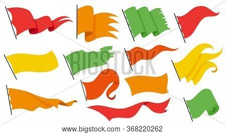 Collection waving flags on pillar - waving simple icons. National symbol, on white background - illustration. Color flag template for your design