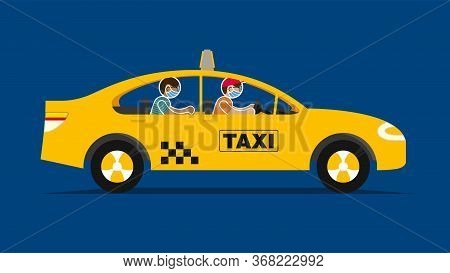 Simplified Drawing Of A Yellow Taxi Seen In Profile With The Driver And Passenger In The Form Of Ico