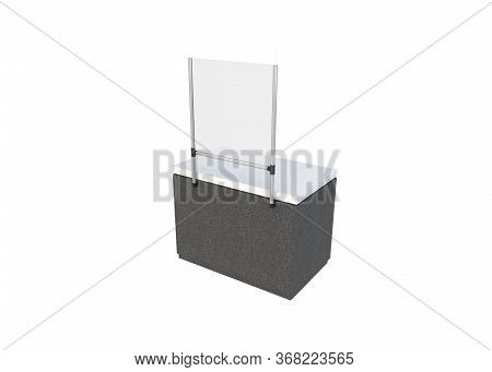 3d Render Of Sneeze Or Droplet Guard With Front Table Fastening Or The Front Of A Desk Or Table On W
