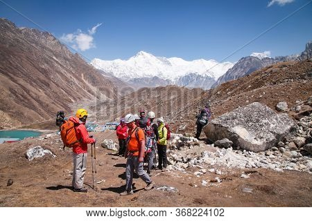 Nepal, Himalayas -may 2, 2019: Group Of Climbers In Snow Mountains. Team Work Concept. Sagarmatha Na