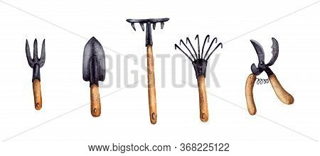 Hand-drawn Watercolor Illustration. Set. Garden Tools For Plant Care, Gardening Assistance. Brushcut