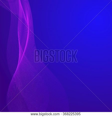 Abstract Background In Blue With A Pink Grid. Designer Flow Image. Vector Image. Stock Photo.