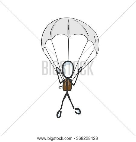 Parachutist Jump. Paratrooper Fly In The Sky. Skydiving. Hand Drawn. Stickman Cartoon. Doodle Sketch