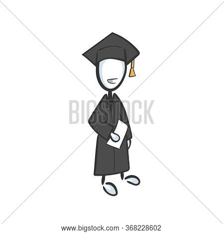 Happy School Graduate In Square Hat With Diploma. College Raduation Ceremony, Final Exams, Degree Ce