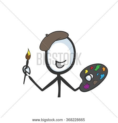 Painting Artist With Palette And Beret. Hand Drawn. Stickman Cartoon. Doodle Sketch, Vector Graphic