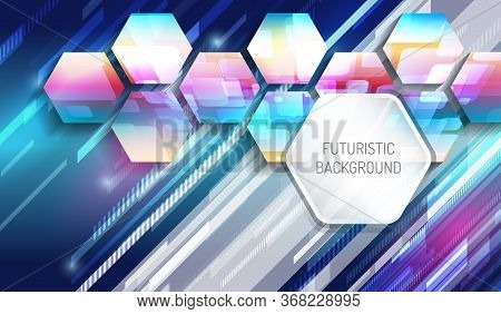 Futuristic Blue Background With Hexagons And Glowing Technology Lines. Colorful Modern Hi-tech Illus
