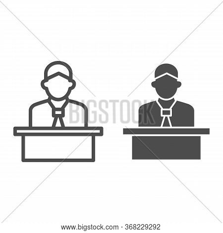 Lecturer Behind The Podium Line And Solid Icon, Business Presentation Concept, Speaker In Uniform Ma