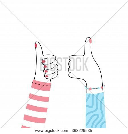 Vector Isolated Illustration Of Hands With Thumb Up. Feedback And Customer Review Concept. User Sati