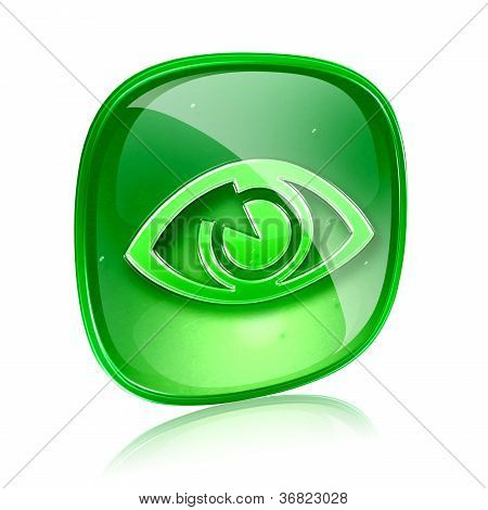 Eye Icon Green Glass, Isolated On White Background.