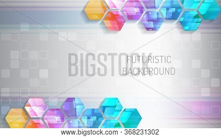 Futuristic Blue Background With Hexagons And Squares. Colorful Modern Hi-tech Illustration.