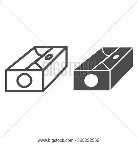 Sharpener Line And Solid Icon, Stationery Concept, Device For Sharpening Pencil Sign On White Backgr