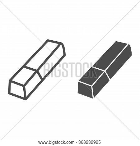 Eraser Line And Solid Icon, Stationery Concept, Tool For Correct Or Edit Drawing Vector Sign On Whit