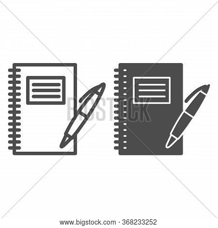 Notebook And Pen Line And Solid Icon, School Supplies Concept, Writing Pad With Pen Sign On White Ba