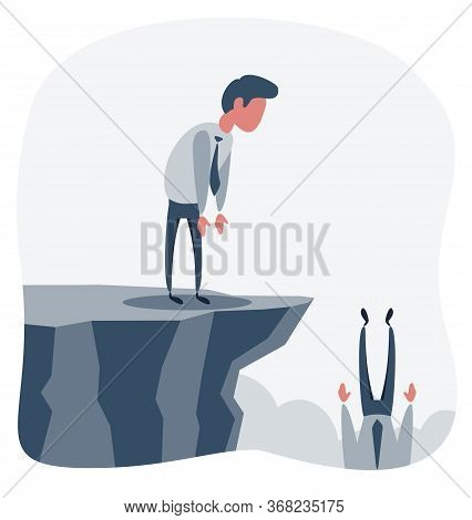 Businessman Falls Into The Abyss, Crisis, Bankruptcy. Flat Design Vector Illustration.