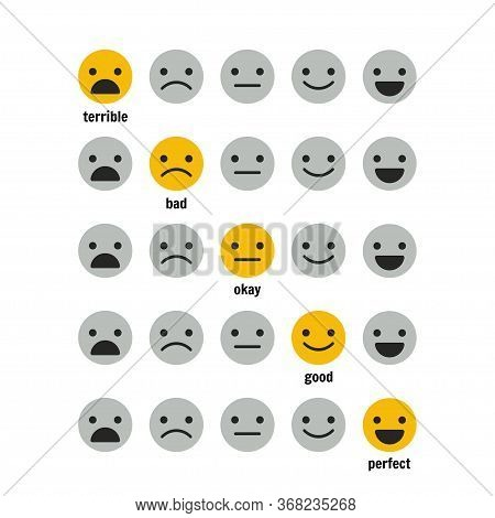 Icons, Emoticons For Rating Or Review. Feedback Rate Of Satisfaction. Level.