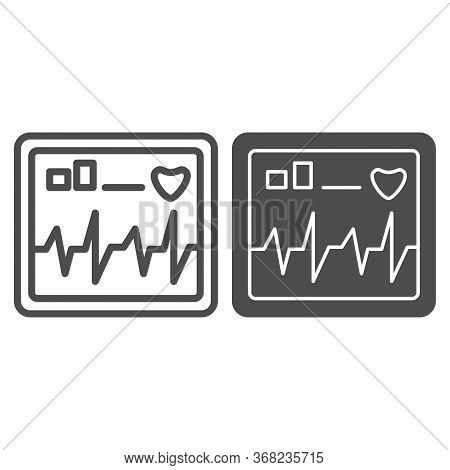 Monitor Screen Displays Heart Rate Line And Solid Icon, Healthcare Concept, Cardiogram Device Sign O