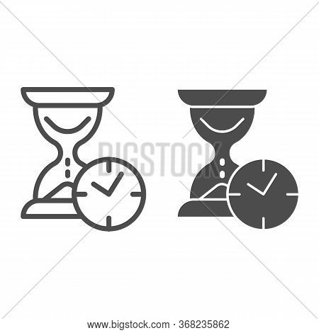 Hourglass With Clock Line And Solid Icon, Time Passing Concept, Urgency And Running Out Of Time Sign
