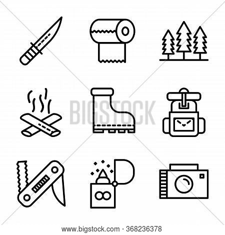 Camping Icon Set Including Knife,cam,survive,adventure, Tissue,camp,trees,camping,fire, Bonfire,shoe