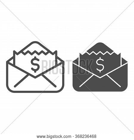 Envelope With Dollar Bill Line And Solid Icon, Business Concept, Letter With Financial Payment Sign