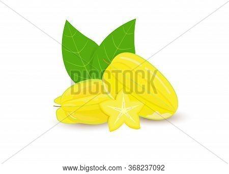Carambola Isolated On A White Background. Set Realistic Fruits. Macro Icon Juicy Starfruit And Slice