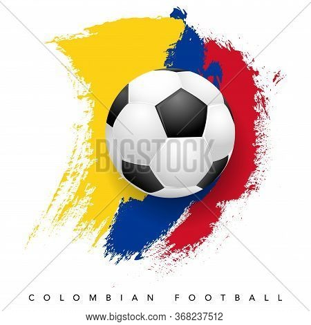 Grungy Colombian Flag With Soccer Ball On White Background - Colombian Football Symbols. Vector Illu