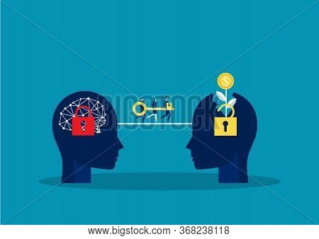 Team Businessman Carry Big Key Move To Growth Mindset For Press Unlock Concept