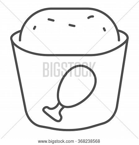 Meat Muffin Thin Line Icon, Bakery Concept, Cupcake With Chicken Sign On White Background, Fast Food
