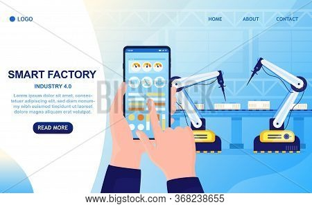 Smart Factory Colorful Concept. Hand With Smartphone Controls The Production Process. Industry 4.0 S