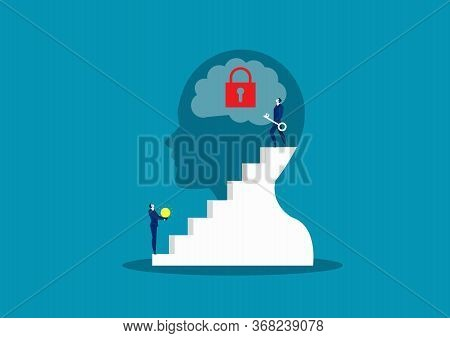 Business Take Key For Unlock Brain , Possitive Thinking Background