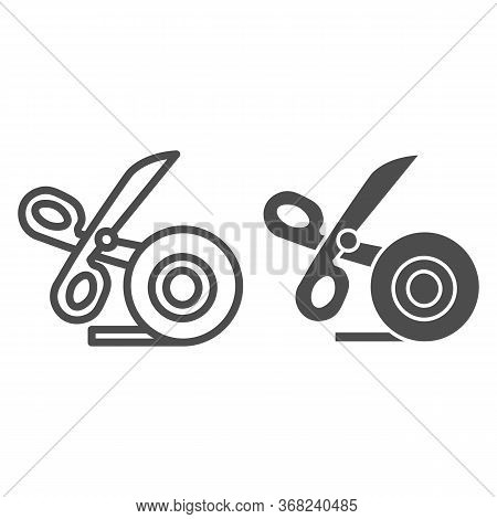 Scissors And Scotch Tape Line And Solid Icon, Stationery Concept, Cutting Adhesive Tape Sign On Whit