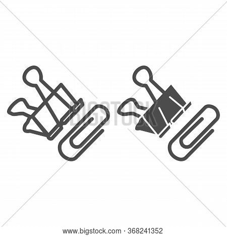 Paper Clip And Binder Line And Solid Icon, Stationery Concept, Office Attach Clip Set Sign On White