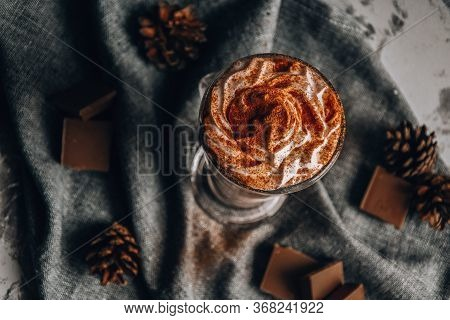 Glass Of Latte Macchiato, Delicious Hot Chocolate, Cup Of Coffee With Cinnamon, Chocolate And Cream,