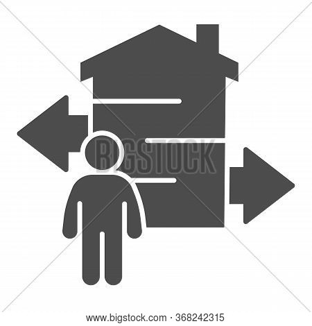 Man With Arrows And Building Solid Icon, Smart Home Concept, Technology Vector Sign On White Backgro