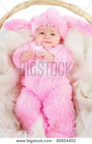 Funny Newborn Baby Dressed In Easter Bunny  Suit