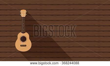 Ukulele Cute Hanging On A Wooden Wall Background And Copy Space, Realistic Ukelele, Ukulele Classic