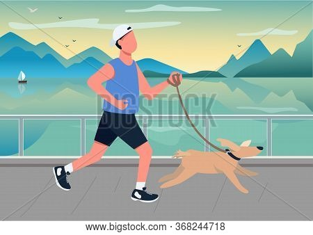 Man Running With Dog On Seafront Flat Color Vector Illustration. Person Walking Puppy At Seaside Qua