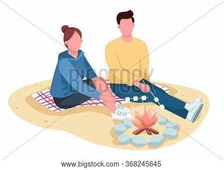 Couple Roasting Marshmallow On Beach Flat Color Vector Faceless Characters. Summer Outing. Boyfriend