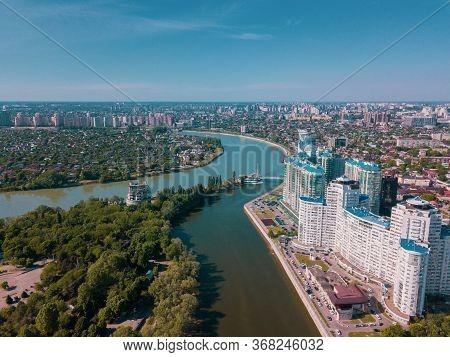 Russioa, Krasnodar Cityscape And Kuban River From Aerial View. Krasnodar Region, Russia