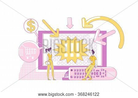Promotion Products On Television Thin Line Concept Vector Illustration. Tv Commercial Viewers 2d Car
